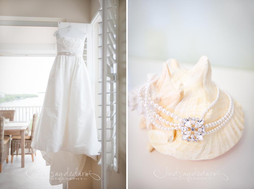 wedding dress and jewelry displayed before destination wedding on Gasparilla Island Boca Grande, FL