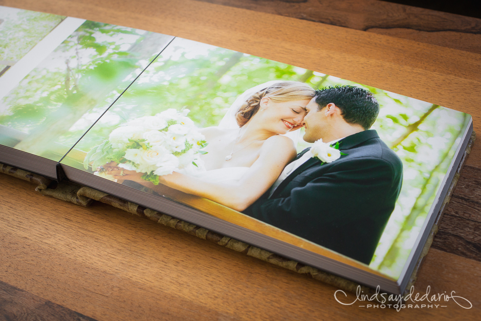 wedding album on table in photographer
