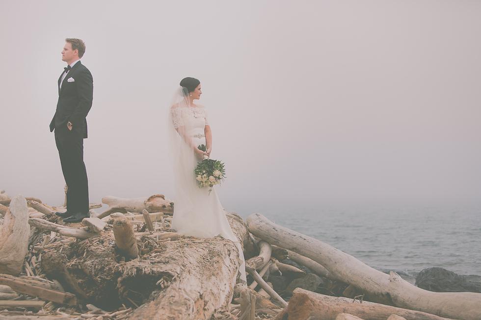 Wedding couple stand on drift wood on beach in fog at Erie Basin Marina in Buffalo, NY