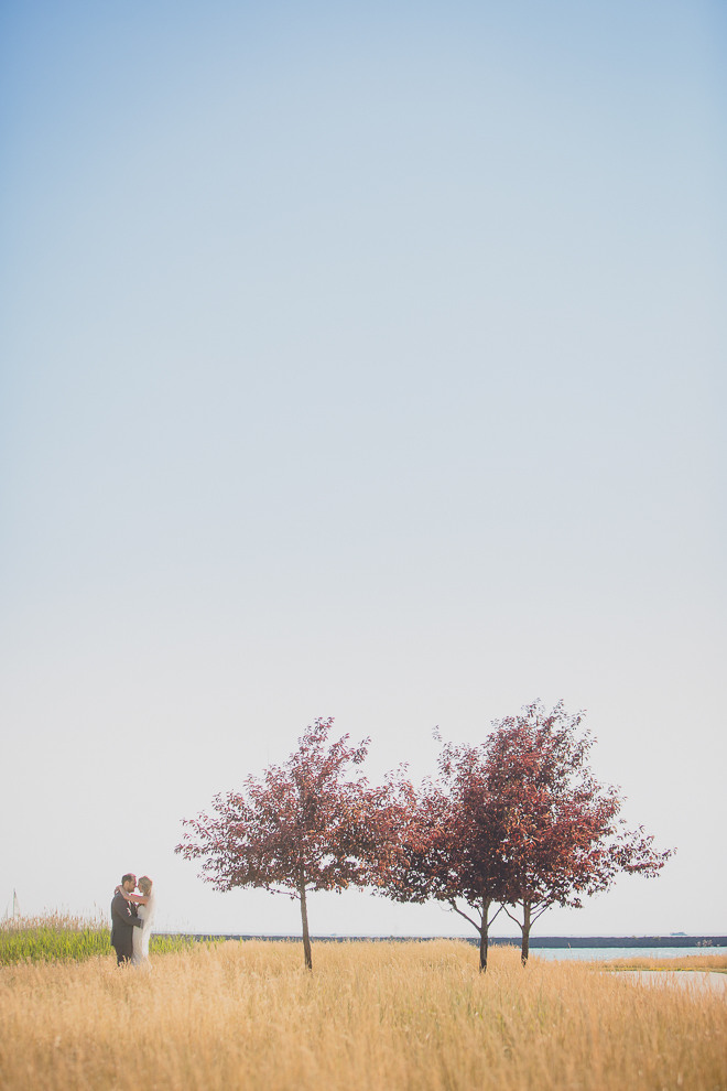 wedding photography by photographer  lindsay dedario of a bride and groom embracing near three red trees in a field