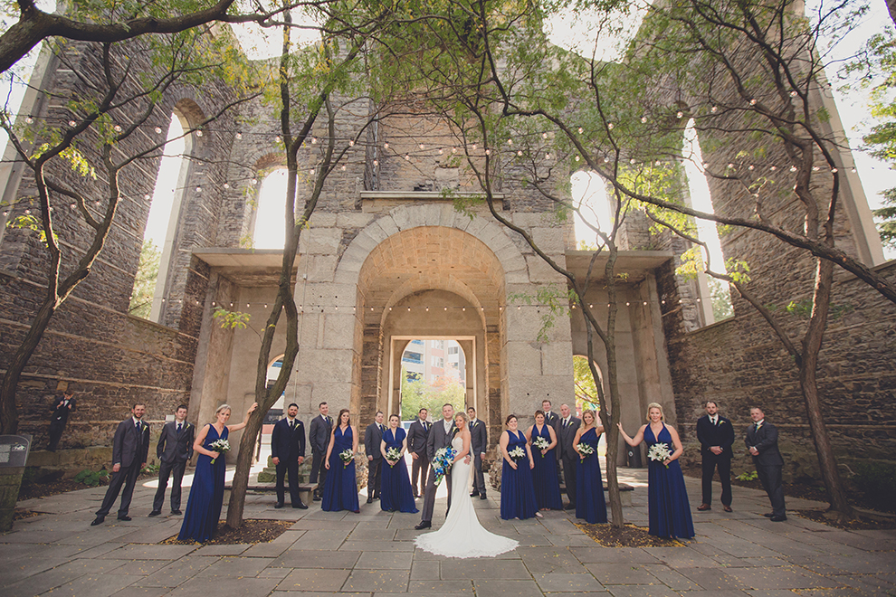 Bridal party stands in St Joseph