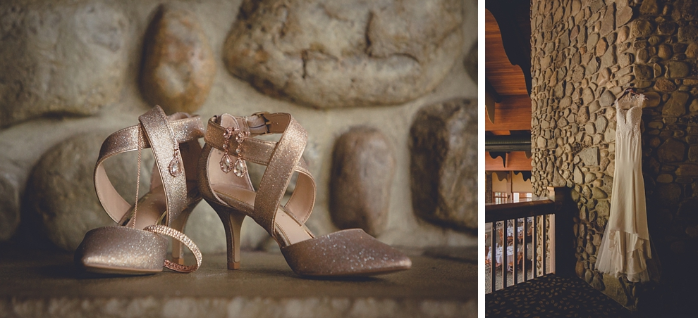brieds dress and shoes at ski lodge wedding at holiday valley in ellicottville, ny
