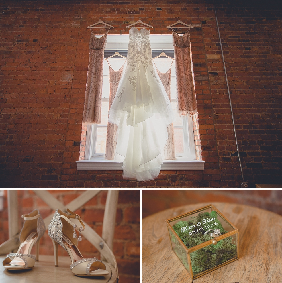 details from whimsical urban woodland themed wedding photography in buffalo, ny at pearl at the webb lofts on pearl st, lafayette hotel, pearl st brewery