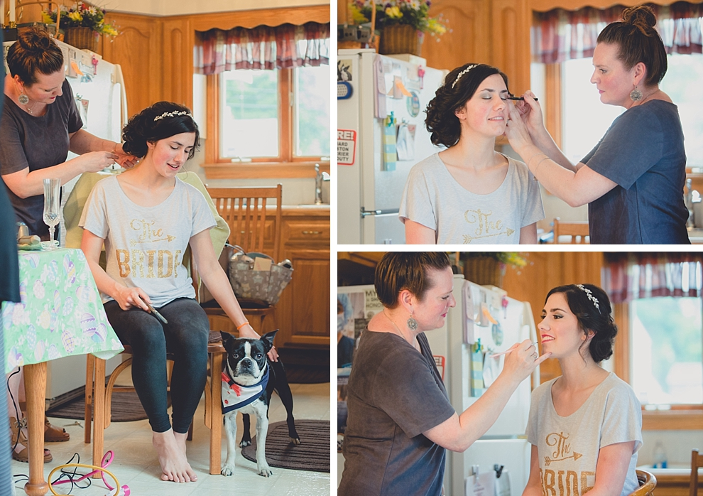 photography of bride getting hair and makeup done by Lizzy Dugan of Salon Elizabeth before garden wedding ceremony at Samuel