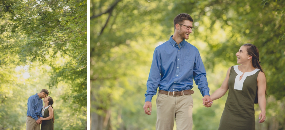 wedding engagement photography of bride and groom laughing and walking down tree lined street at Knox Farm State Park near Buffalo, NY
