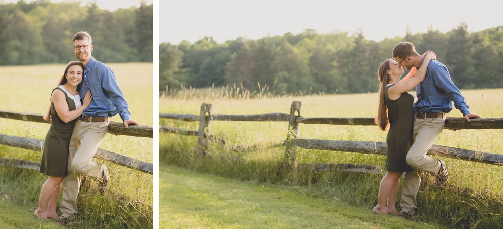 bride and groom kiss along old wood fence in field during wedding engagement photography at Knox Farm State Park near Buffalo, NY