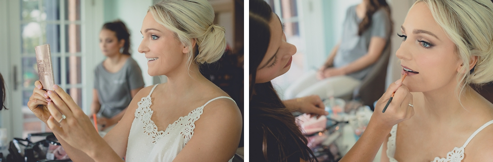 bride gets ready for wedding at home on Niagara River in Lewiston, NY