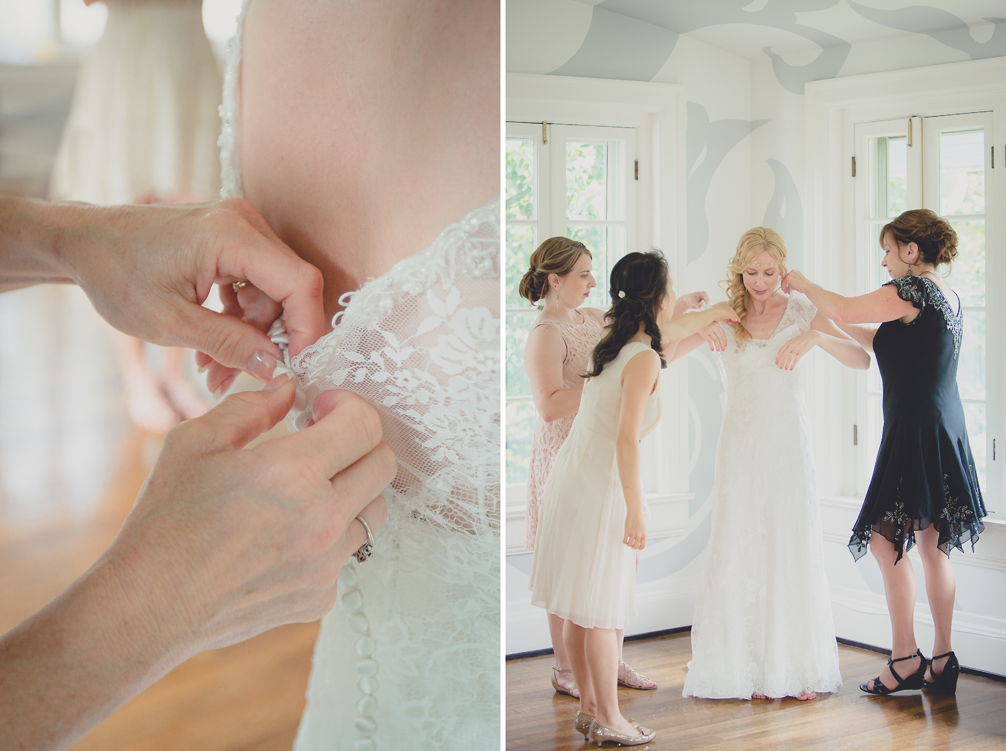 mother of bride and bridesmaids help bride get ready in secret room at small wedding at Knox Farm near Buffalo, NY