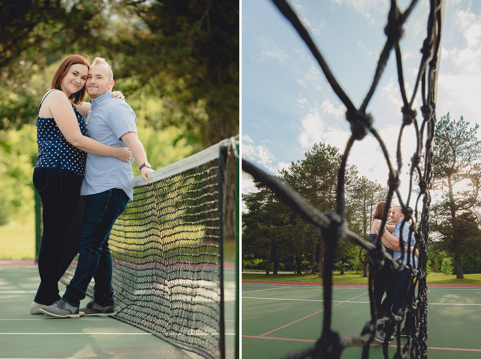 engaged couple poses for photographer while leaning against a tennis net at Akron Falls Park near Buffalo, NY