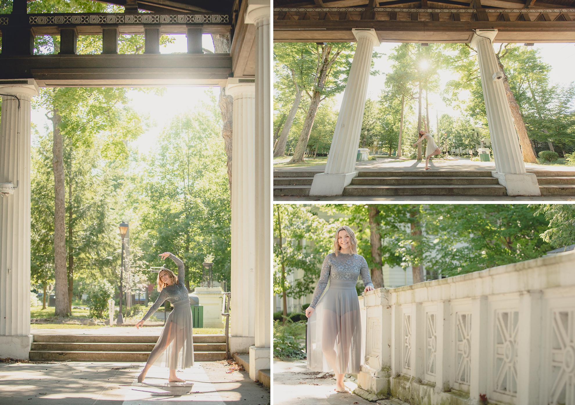 maple grove high school student dances in Hall of Philosophy during senior portrait photography session at Chautauqua Institution