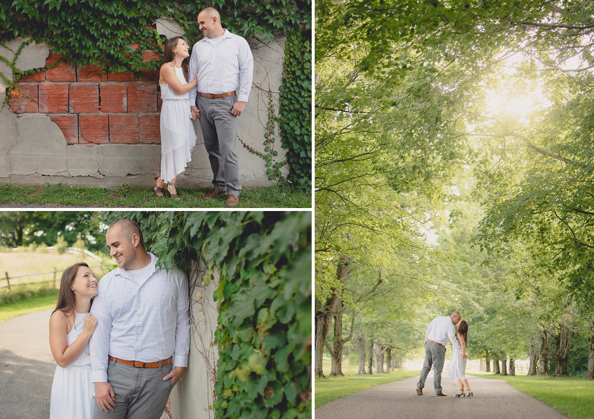bride and groom stop to kiss while walking down tree lined road during wedding photography engagement portrait session at Knox Farm near Buffalo, NY