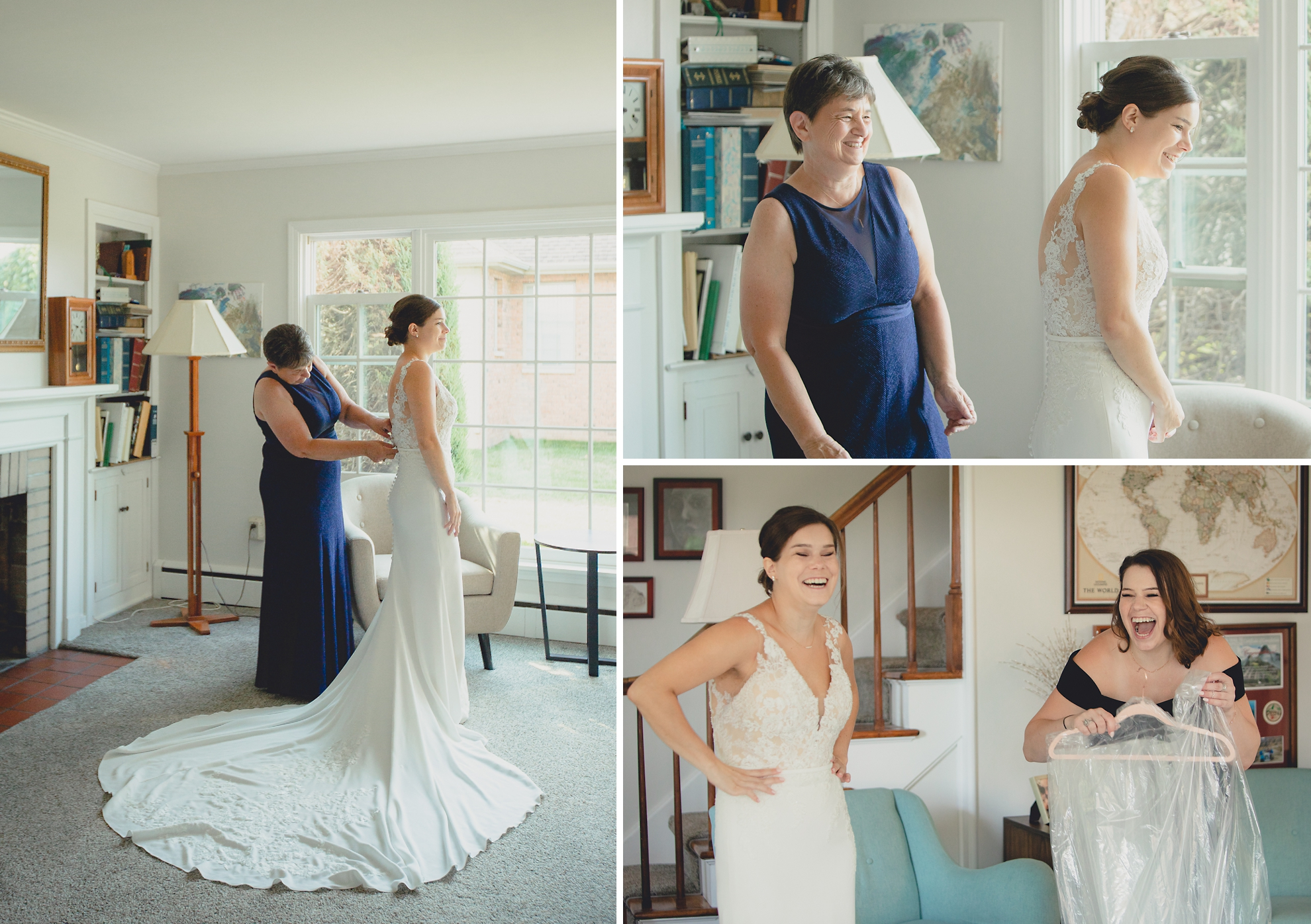 mom helps bride with wedding dress before micro wedding in WNY