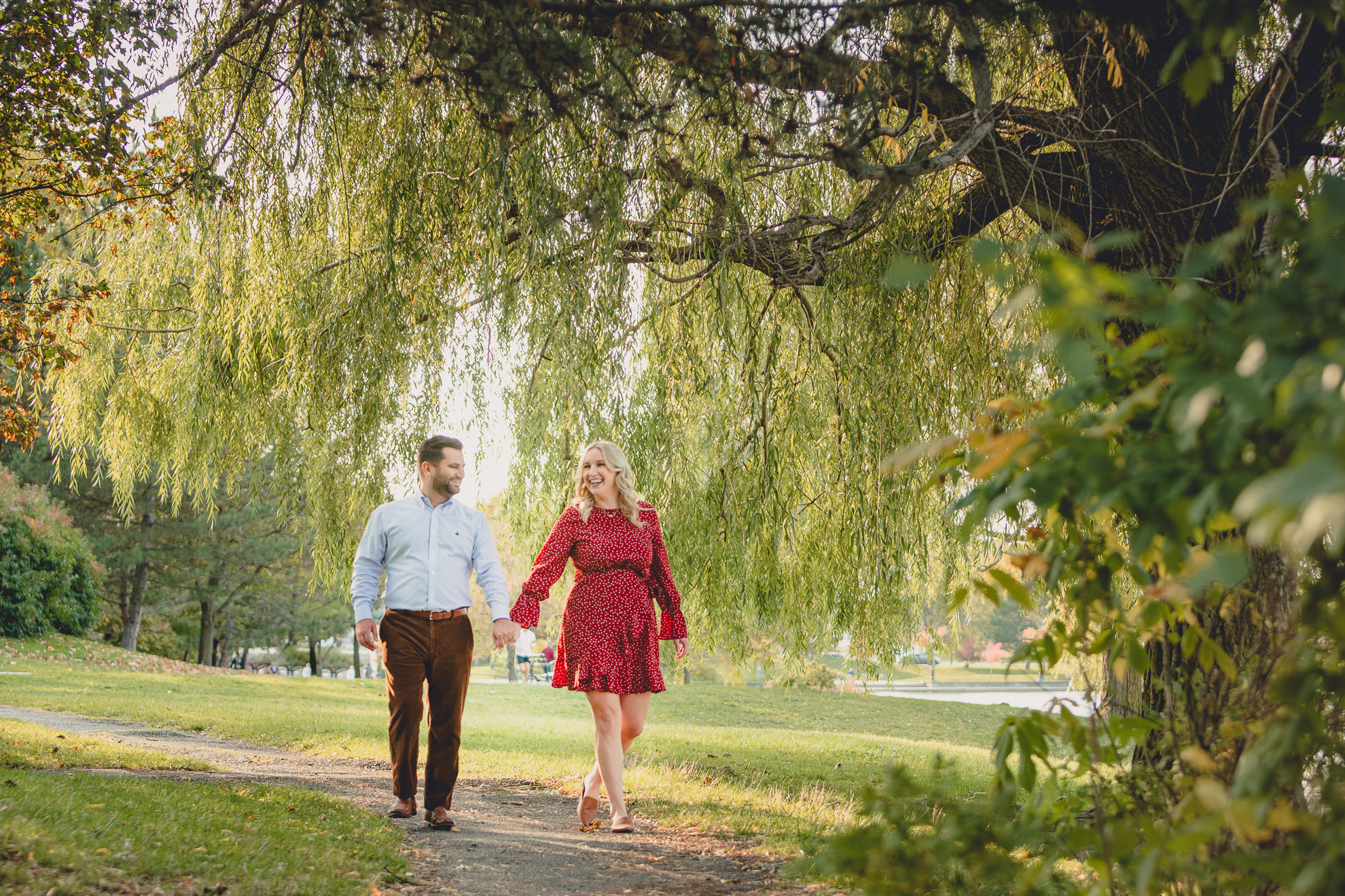 wedding engagement photography at hoyt lake in Delaware Park in Buffalo, NY