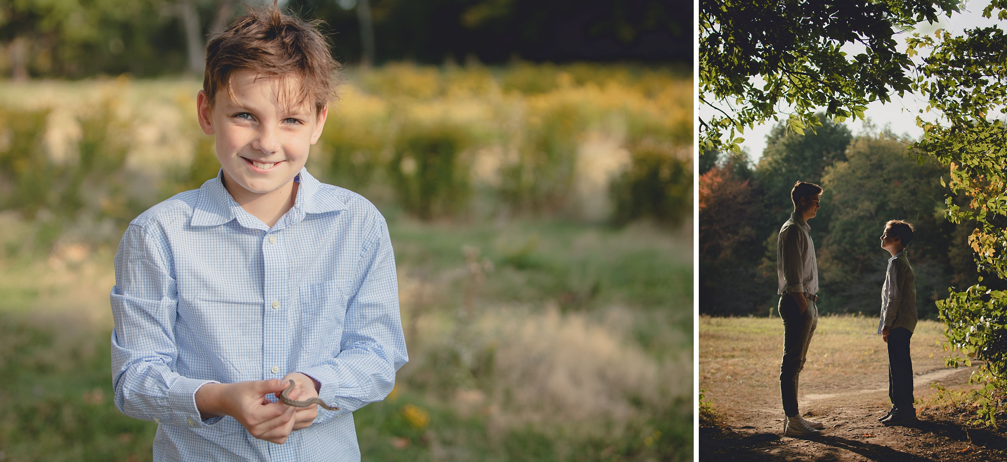 wny senior from east aurora highschool poses with little brother during senior portrait photography session at Knox Farm near Buffalo, NY