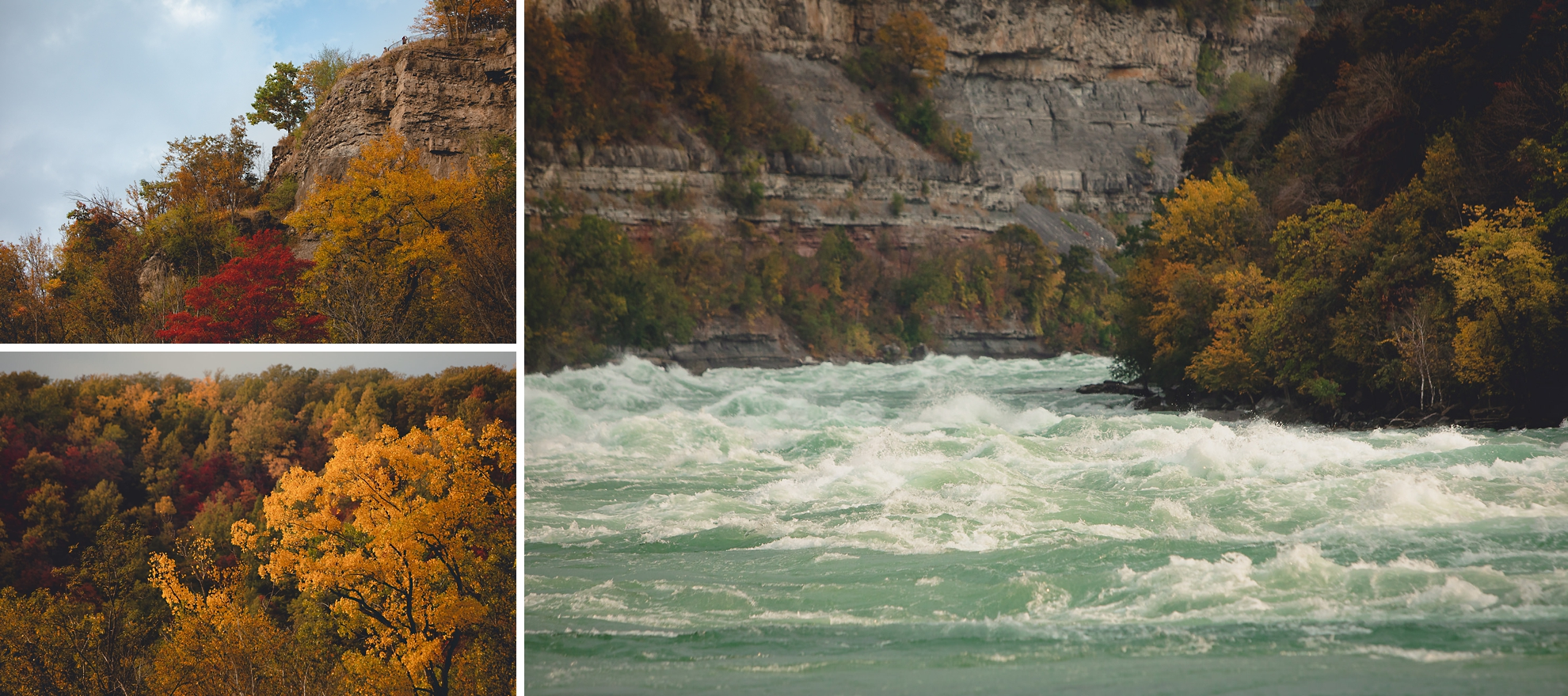 fall foliage and rapids in Whirlpool State Park in Niagara Falls, NY