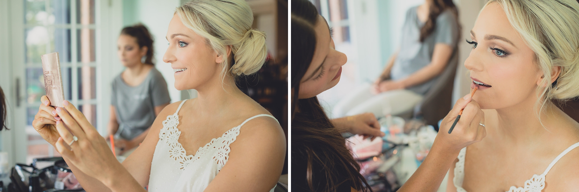 bride has makeup done before wedding in Lewiston, NY