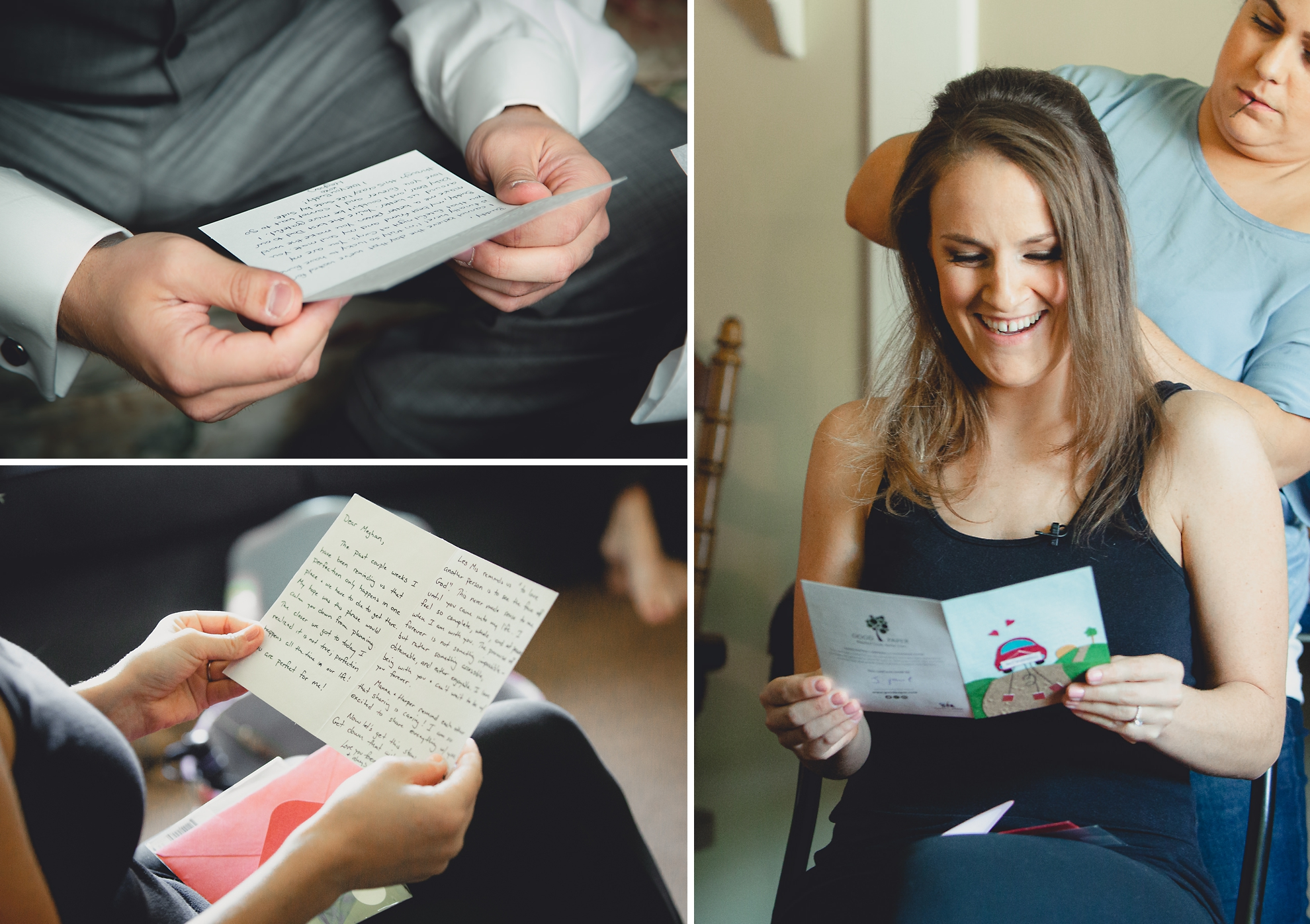 bride and groom read cards from one another before wedding ceremony in Buffalo, NY