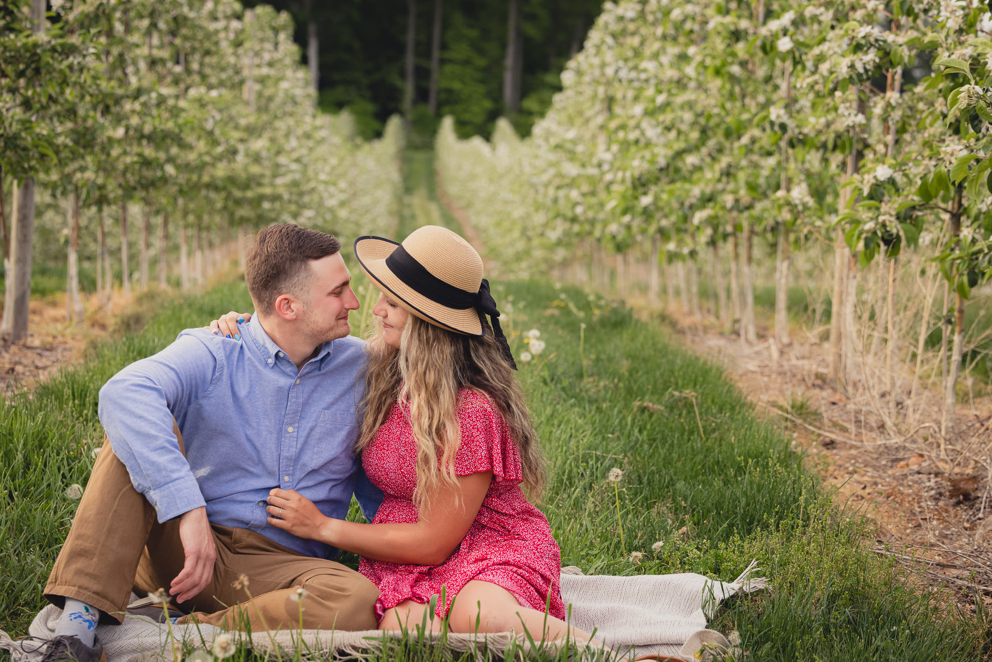 couple sit on blanket between trees during wedding engagement proposal photography in orchard in Niagara County