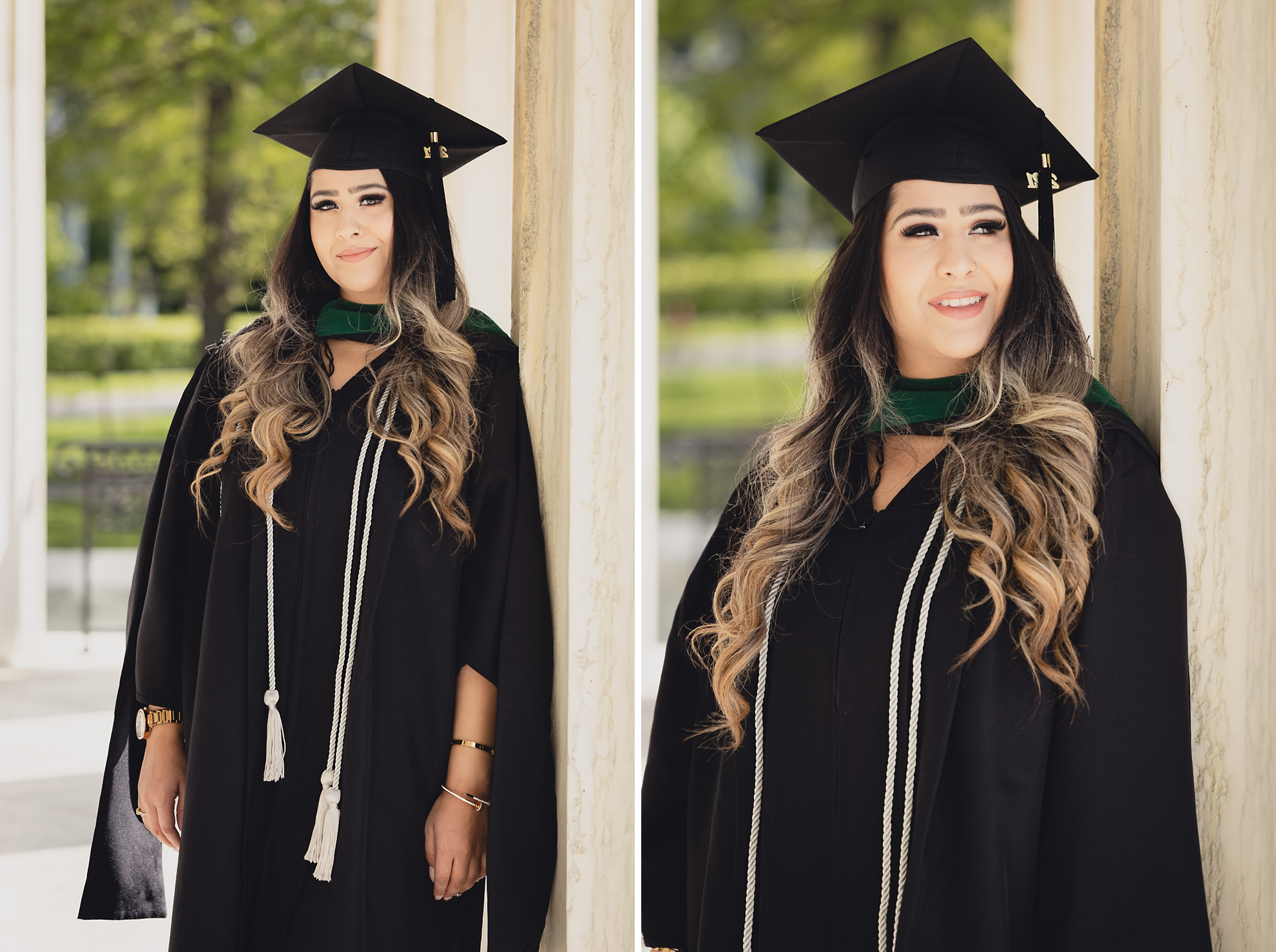 graduate smiles for photographer during senior graduation portrait photography at the History Museum in Buffalo, NY